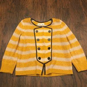 Loft Yellow Brown Hook Sweater Cardigan Size M P